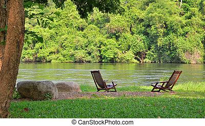 lac, chaises, et, rivière