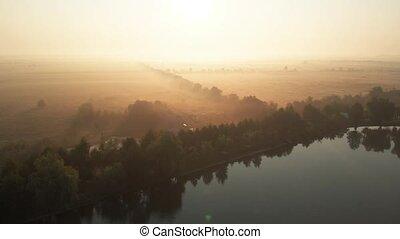 lac, champs, aérien, morning., vue, brumeux