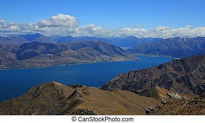 lac, colline, poitrine, hawea, montagnes, vue