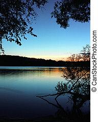 lac, coucher soleil, 3