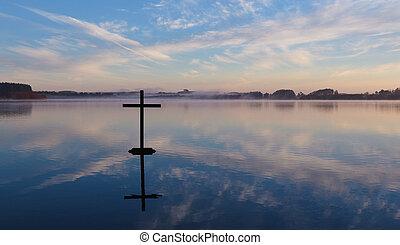 lac, croix, reflet