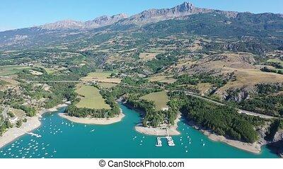 lac, d, été, alpes, provence-alpes-cote, région, paysage, serre-poncon, artificiel, azur, francais, entouré, serein