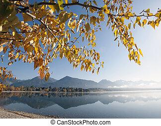 lac, dans, automne