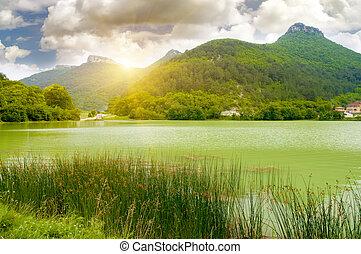 lac, dans, mountain., beau, composition, de, nature.