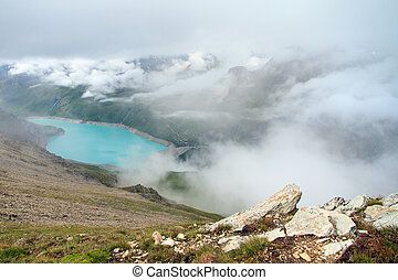 Lac de Moiry with clouds