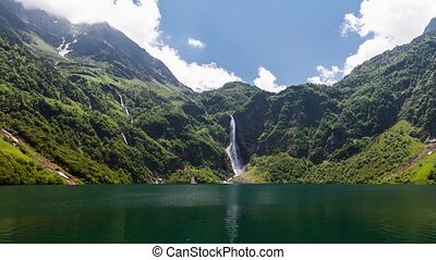 Lac d'Oo Waterfall Timelapse France - Shot at Lac d'Oo in...