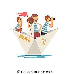 lac famille, illustration, fils, rivière, canotage, vecteur, papier, t-shirts, mère, rayé, étang, ou, bateau, père