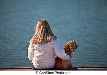 lac, femme, jeune, elle, chien
