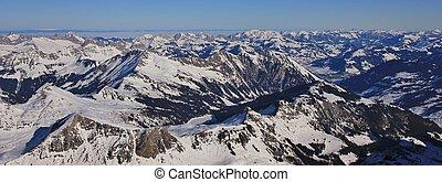 lac gelé, arnensee, et, montagne étend, près, gstaad, switzerland., vue, depuis, glacier, from, diablerets.