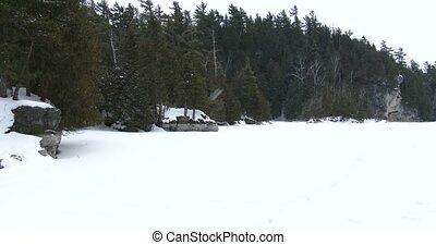 lac gelé, dans, canadien, parc