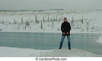 lac, homme, chant, hiver, jeune