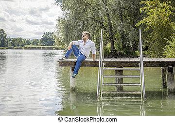 lac, homme