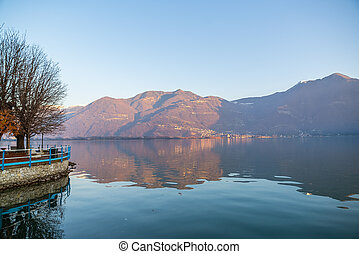 lac, iseo, panorama, romantique