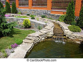 lac, jardin
