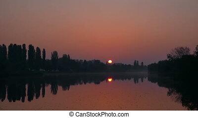 lac, levers de soleil, matin
