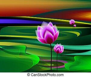 lac, lotus, vert