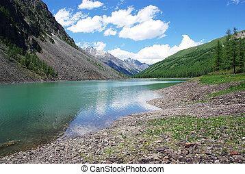 lac, montagne, fond, élevé