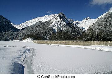 lac montagne, neige