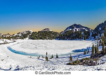 lac, monter, glacier parc national, lassen