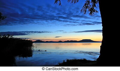 lac, ower, levers de soleil, beau