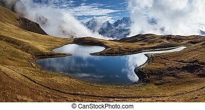 lac, panorama montagne