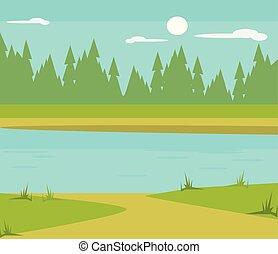 lac, plat, dessin animé, illustration