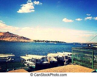 lac, rayons, ciel, panorama, sun's