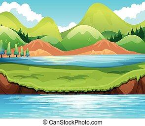 lac, scène