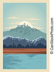 lac, scène, paysage montagne, beau