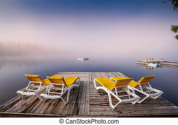 lac-superieur, mont-tremblant, ドック, ケベック, カナダ