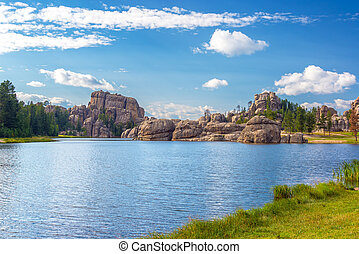 lac, sylvan, formations, rocher