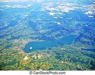 lac, zug, /, zugersee, suisse, -, vue aérienne