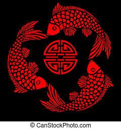 lacca, piastrella, con, fish, disegno