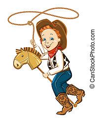 laccio, cavallo, giocattolo, bambino, cowboy
