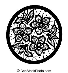 laccio, disegno, imitazione, ricamo, floreale, fiori, element.