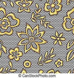 laccio, seamless, flowers., modello, oro