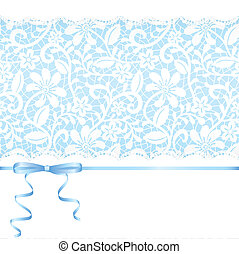 Lace backgraund and blue ribbon with bow