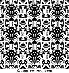 Lace background, black ornamental flowers