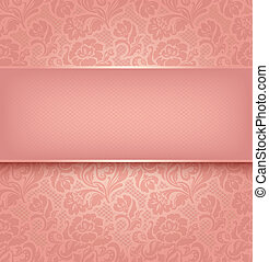 Lace background, pink ornamental fabric textural. Vector eps...