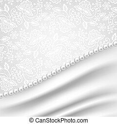 Wedding invitation or greeting card with silk drapery and pearl necklace