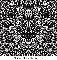Lace background. White on black. Mandala. Vector ethnic ...