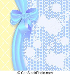 Lace background with a satin ribbon and bow.