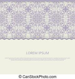 Lace banner template. Flower mandala vintage background