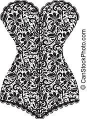 vintage corset - Lace black vintage corset isolated on white