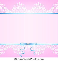 Lace border and blue ribbon with bow on pink background