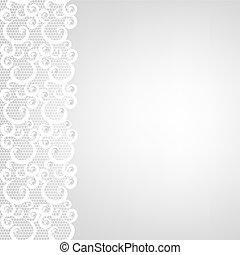lace border and pearls - Wedding invitation ar greeting card...