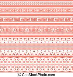 illustration of set of beautiful lace border on plain background