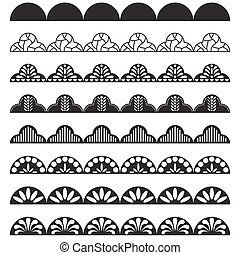 Lace border pattern brush for hem decoration.