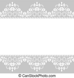 lace border - Pearl frame and lace border on gray background...