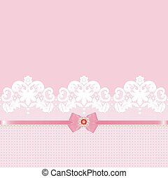 Lace border - White lace border with pink ribbon and bow on...